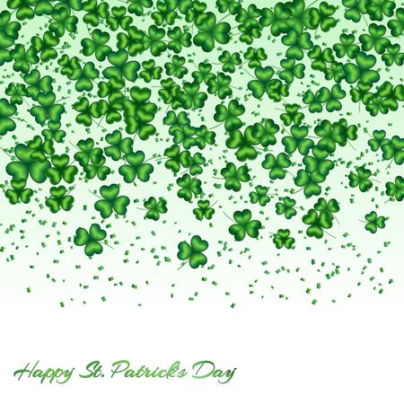 leafed: Pattern Saint Patrick Day with shamrocks and confetti falling down on white background
