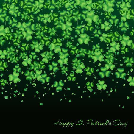 Pattern clover leaves on a green background with confetti to celebrate St. Patricks Day  Stock Photo