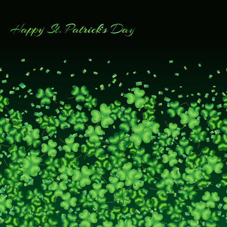 spellbinding: Background with chaotic and green shamrock confetti on a dark background  Stock Photo
