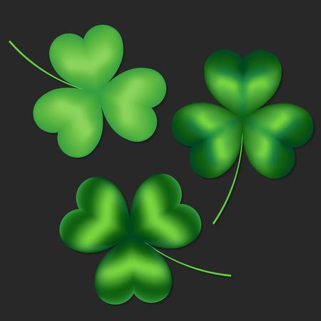 threeleaf: Set of green clover leaves on a dark background Illustration
