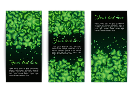 St. Patricks Day set of vertical banners with clover leaves on a dark green background
