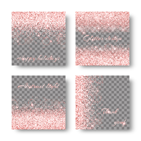 4 set of Glitter sparkle background with bokeh lights. Burst vector on a transparent backdrop. Çizim