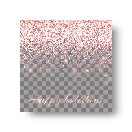 Sequins background with radiant light. Glitter pattern on a transparent backdrop. Illustration