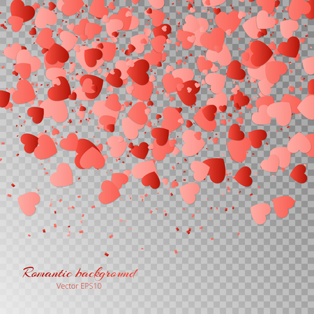 Valentines Day vector illustration with a pattern of falling hearts on a transparent background. Illustration