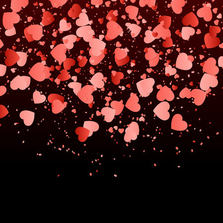 Wedding background with falling red hearts confetti.