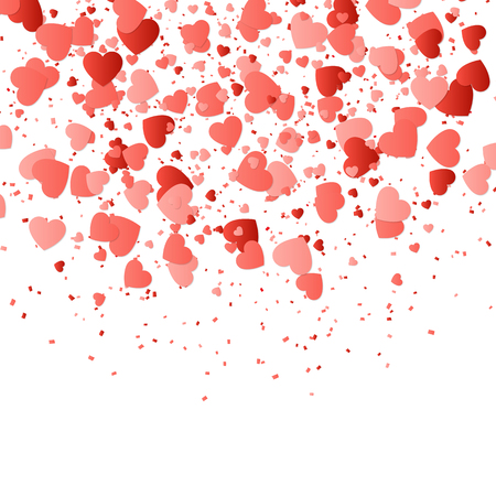 Valentines Day background with confetti in the shape of hearts.