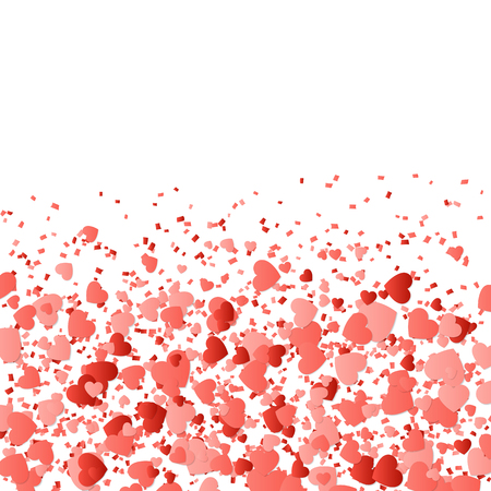 Love background with confetti in the shape of hearts for design romantic greetings.
