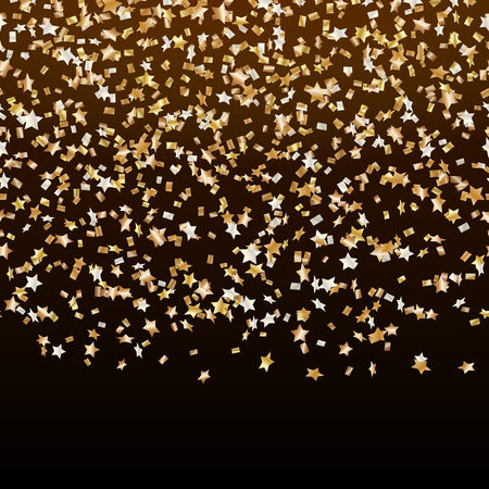 Celebration background with falling gold stars confetti on a black backdrop Illustration