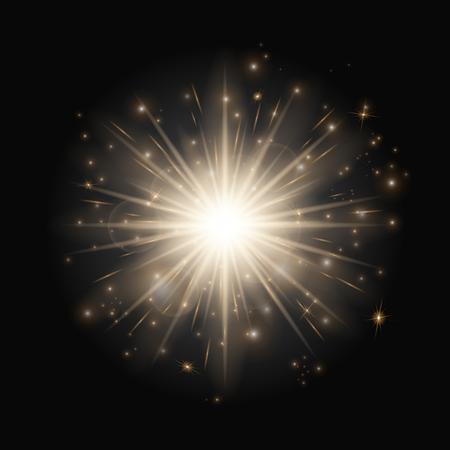 爆発背景クリスマスの照明で。黒背景に小さな星をきらめき。