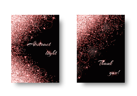 Foil background with glowing lights. Glitter texture on a black backdrop.