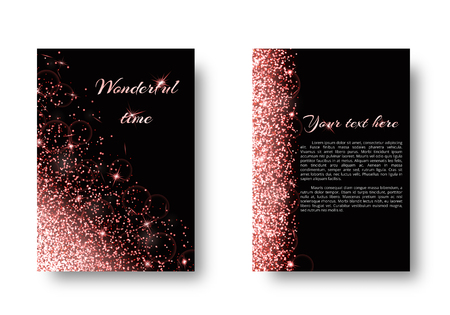 Glitter background with twinkle lights. Sequins vector on a black backdrop. Illustration