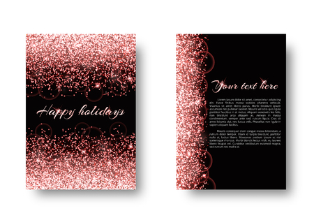 Glitter background with shimmering lights. Particles abstract on a black backdrop. Иллюстрация