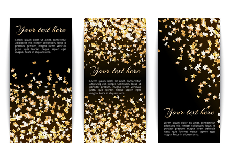 Set of vertical banners with bright golden stars of confetti on a dark background Illustration