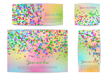 A set of banners of different sizes with falling confetti on a multicolored background Illustration