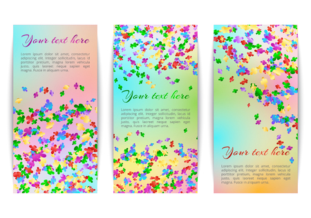 Set of vertical banners with bright falling confetti on a multicolor background Illustration