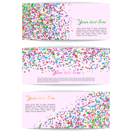 A collection of horizontal banners with multicolored confetti on a colored background Illustration