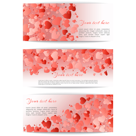 Set of romantic banners with hearts confetti on a pink background. Vector festive illustration for mothers day Illustration
