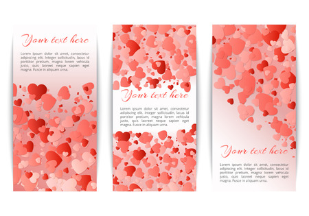 Set of vertical banners with bright red hearts of confetti on a pink background. Vector festive pattern for mothers day