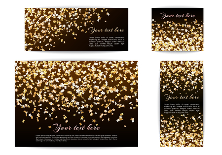 Set of banners of different sizes with falling stars of confetti on a dark background