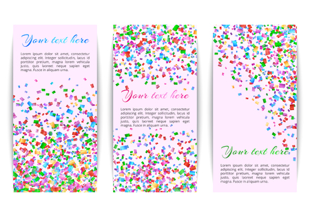 Collection of banners with colored confetti on bright colorful background