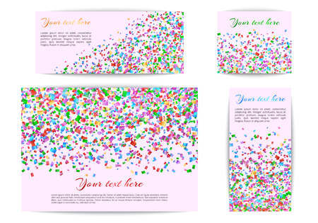 Set of greeting banners with confetti on a multi-colored background Çizim