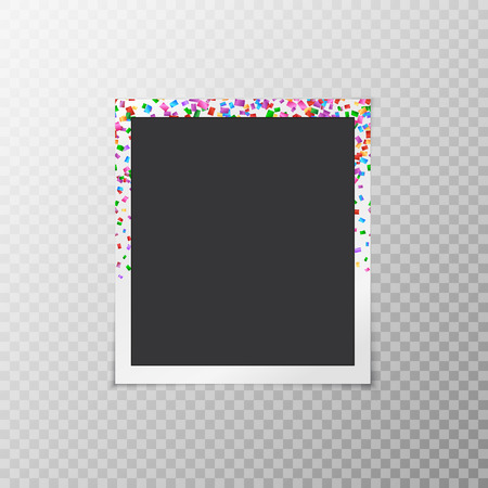 snapshots: Photo frame with falling confetti on a transparent background
