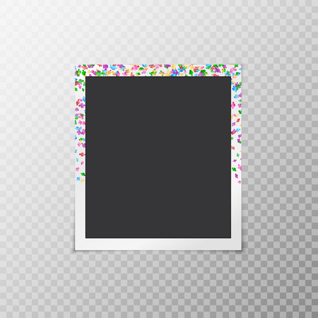 forgetful: Simple photo frame with multicolored falling confetti in the form of flowers on a transparent background