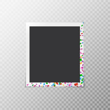 forgetful: Festive photo frame with iridescent confetti isolated on transparent background