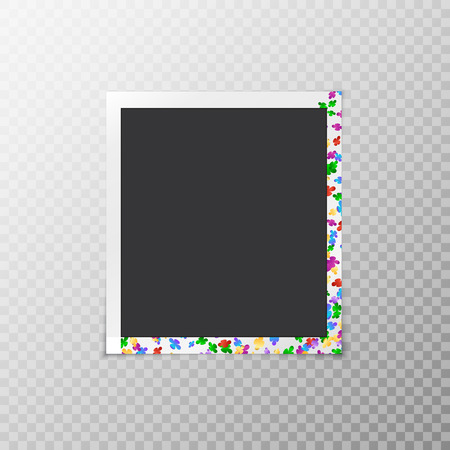fallen: Festive photo frame with multicolored confetti in the form of flowers isolated on a transparent background Illustration