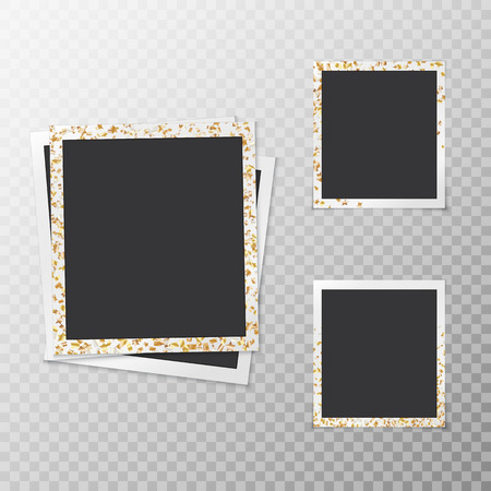 fringe: A set of festive photo frames with falling stars of confetti on a translucent background. The windmill illustration