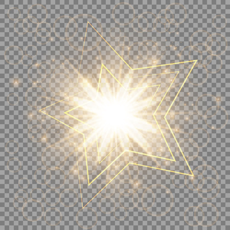 luxe: Christmas golden star with light effects close-up on a transparent background