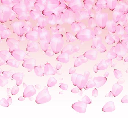 Falling pink petals of sakura on a white background.