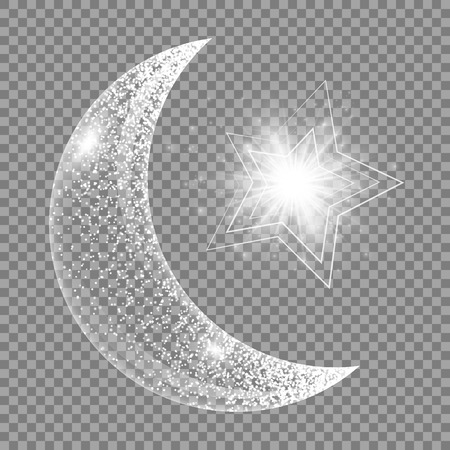 Ramadan kareem pattern. Twinkle background with abstract light, a crescent and star.