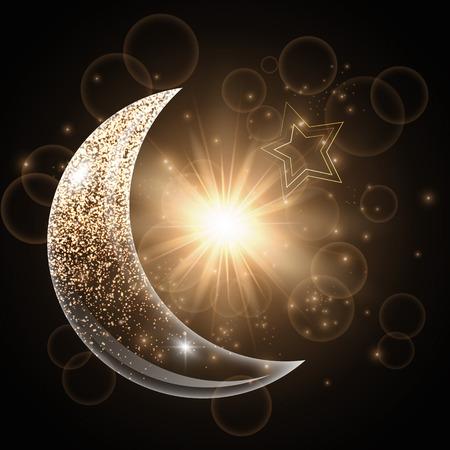 ラマダン ムバラク デザイン。背景に星光、月が輝いています。