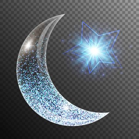 Blendenfleckhintergrund mit glühenden Lichtern, einem Halbmond und Stern. Ramadan Kareem arabische Kunst.