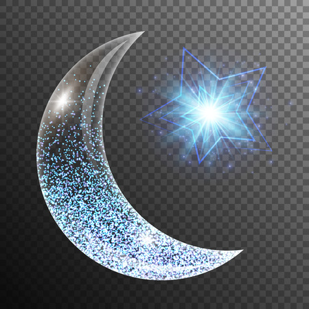 Lens flare background with glowing lights, a crescent moon and star. Ramadan kareem arabic art.