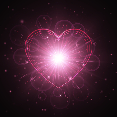 Flare background with glowing lights. Romantic design with a brilliant heart on a dark backdrop. Illustration