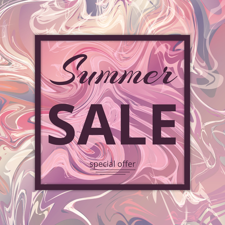 Template special offer summer sale. Graphic watercolor illustration with marbling texture. Marble surface with a pink pattern.