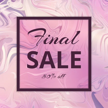 Banner of final sales with discounts and bonuses. Watercolor pastel background with a marble vintage texture in pink tones. Illustration