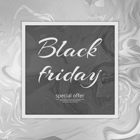 Banner de viernes negro con ofertas especiales para el día de venta. Superficie de mármol con una textura gris. Fondo de acuarela mármoles de arte. Foto de archivo - 82671852