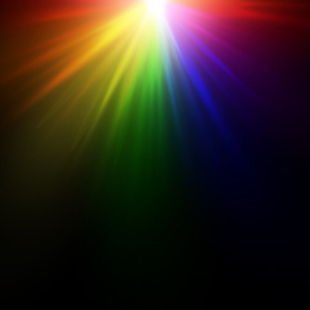 Bright rainbow glow on a black background. A multicolored explosion of paints. Illustration