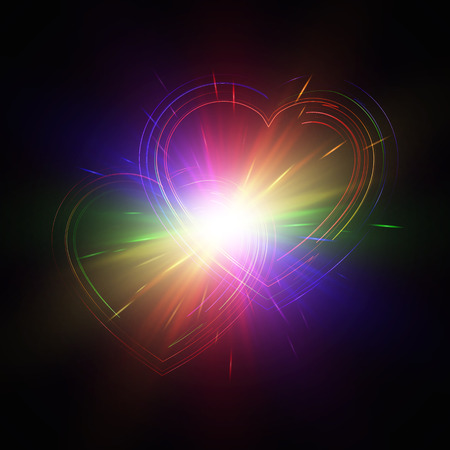 glitzy: Rainbow hearts with light effects on a dark backdrop. Vector illustration.