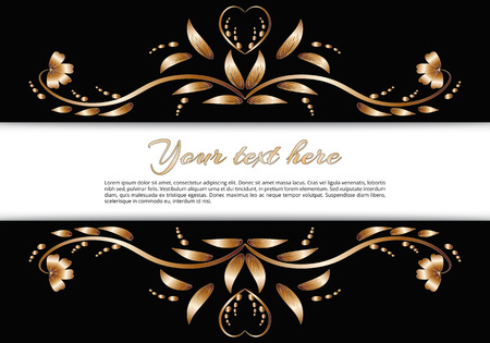 Border with a gold floral pattern made of bright metalic foil on a black background. Rectangular format with space for text