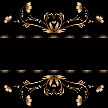Gold border with flowers and leaves from metal foil for decorating your greetings, cards or banners