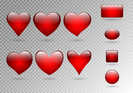 Collection of buttons and three-dimensional hearts with a shadow on a translucent background