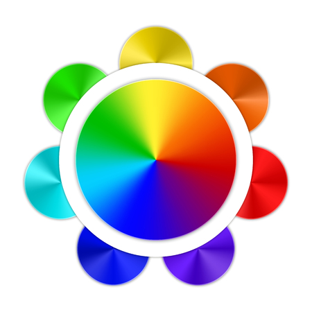 festive occasions: Multicolored conical gradients in the form of a rainbow button on a white background. Vector illustration.