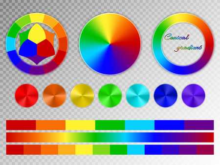 rainbow colors: A set of rainbow elements. Color wheel, multi-colored conical gradients with a metal texture on a transparent background.