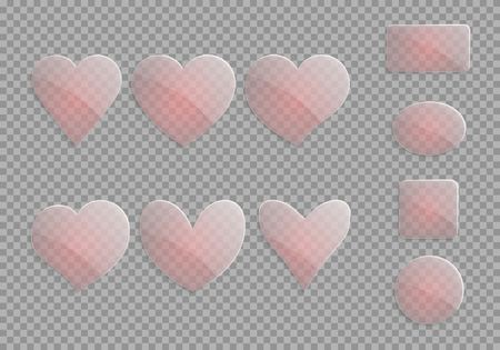 Translucent glass hearts on a checkered background. Elements of a romantic design on a transparent backdrop. Vector illustration Illustration