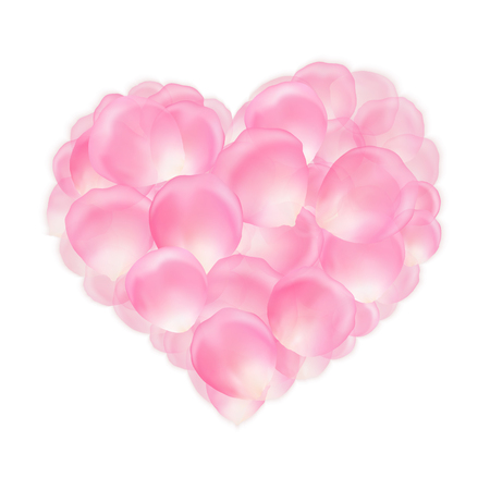 Pink rose petals in the shape of heart for romantic greetings.