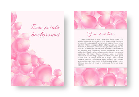 Template for Valentines day greeting card with falling pink rose petals on a light background for a romantic design. Illustration